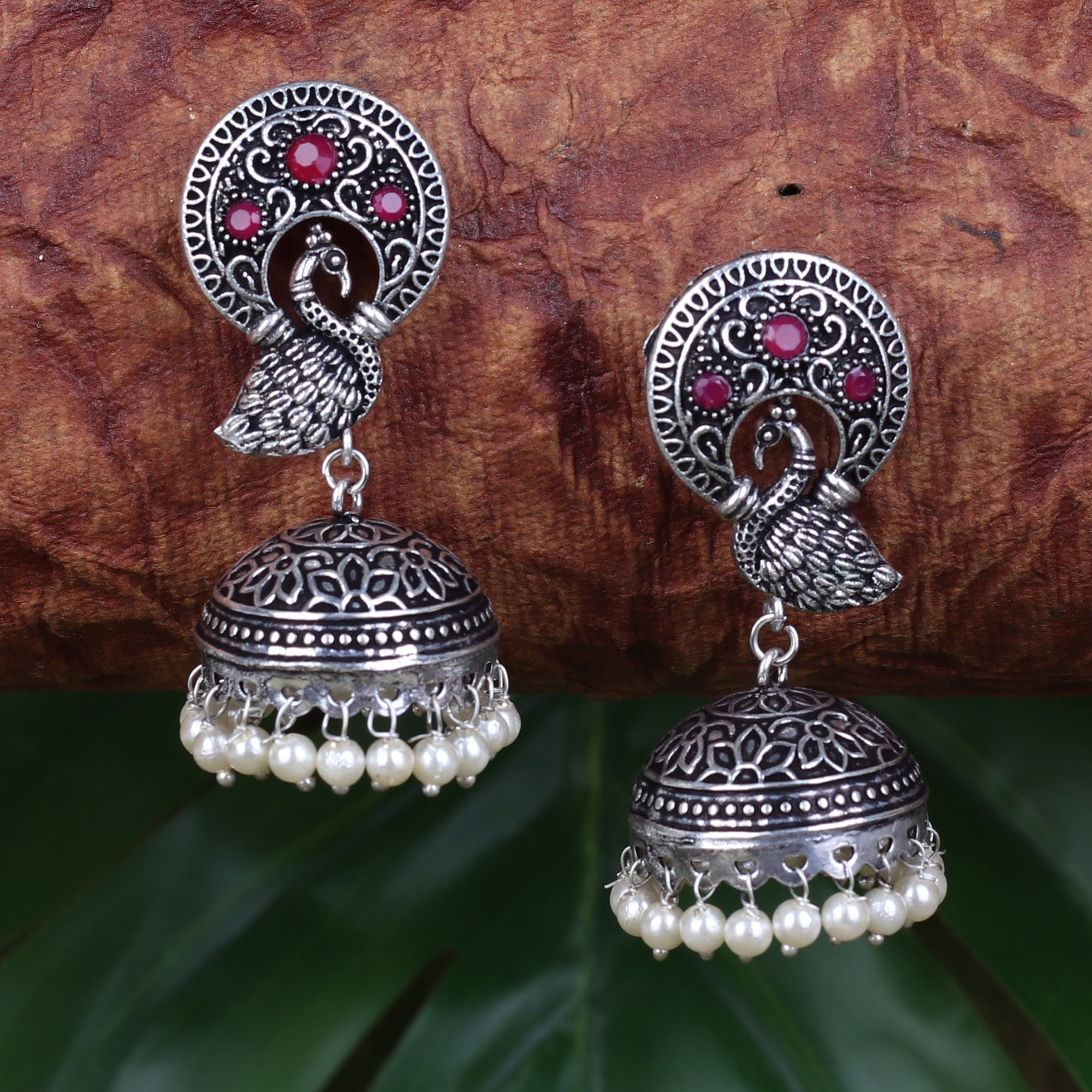 Mayura Art Jhumki With Red Stone