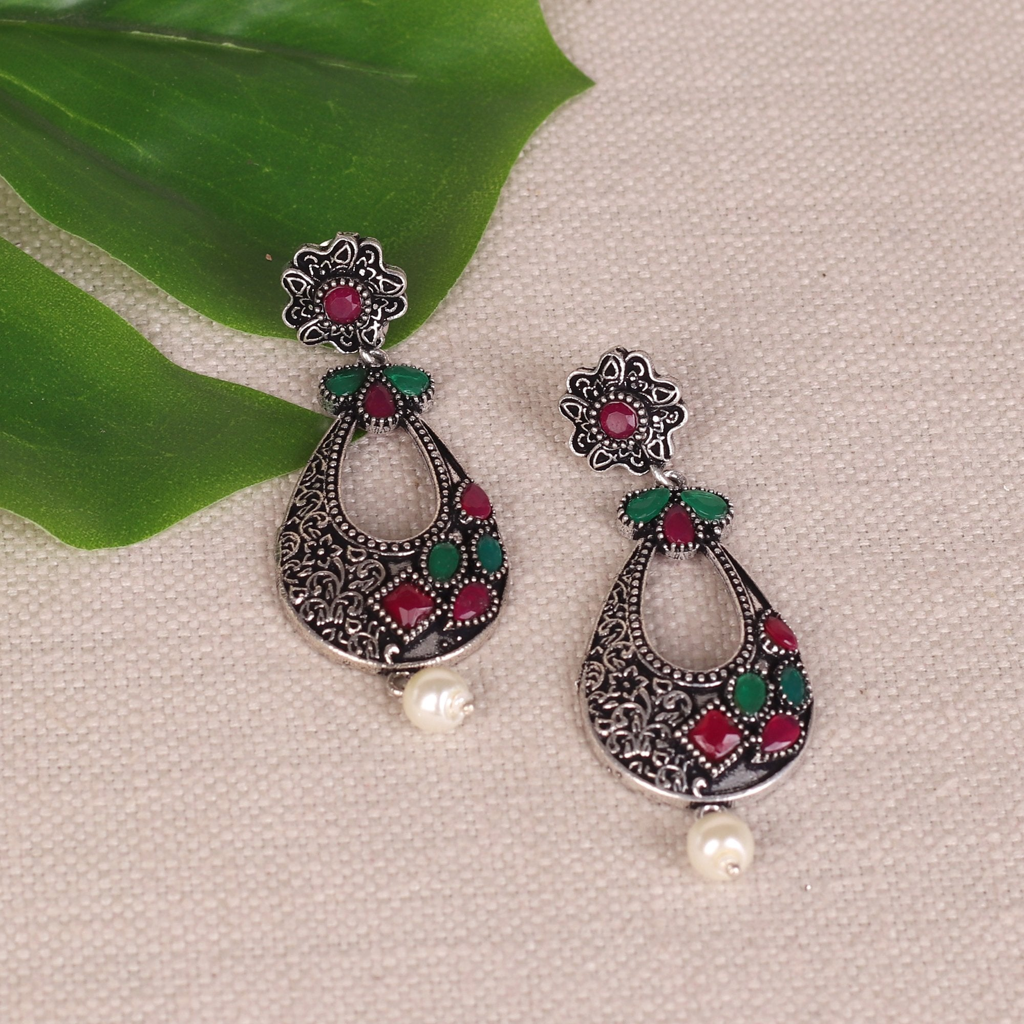 Stone Studded Oxidised Earings In Red & Green