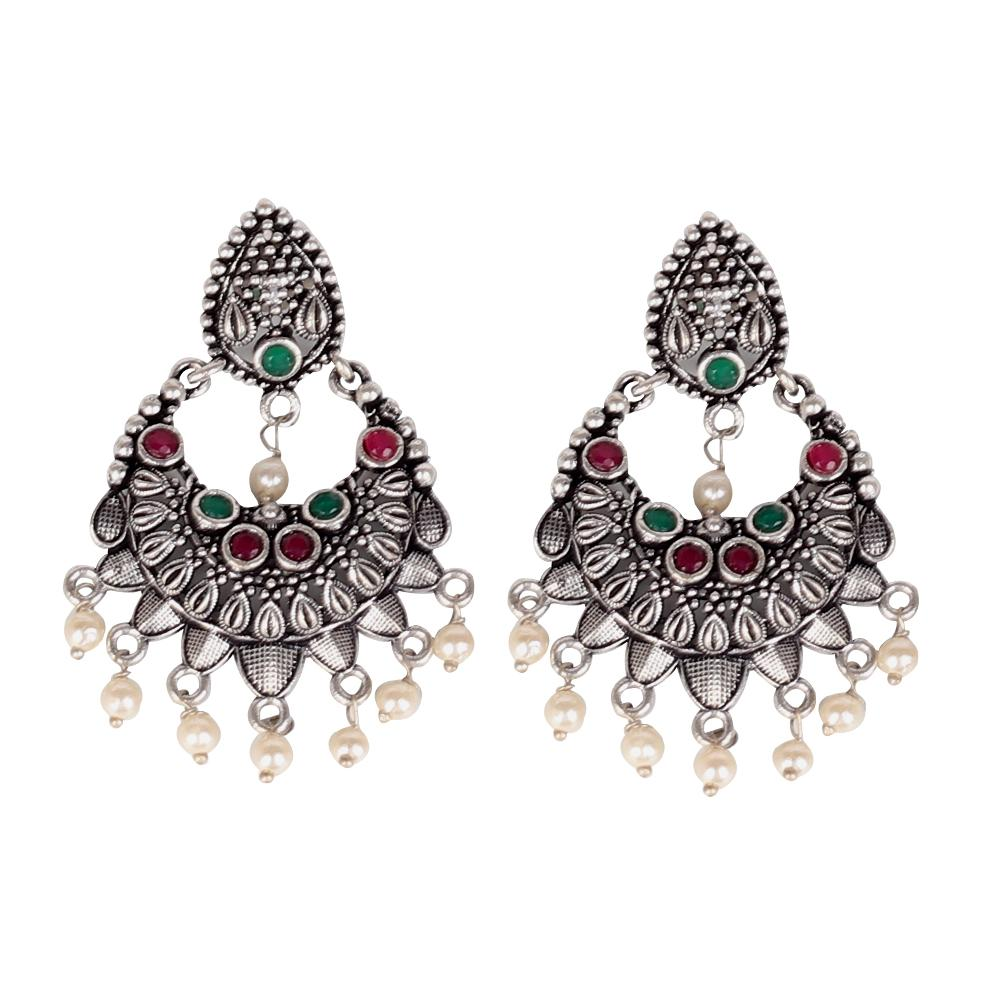 German Silver Oxidised Earrings With Multicolor Stones
