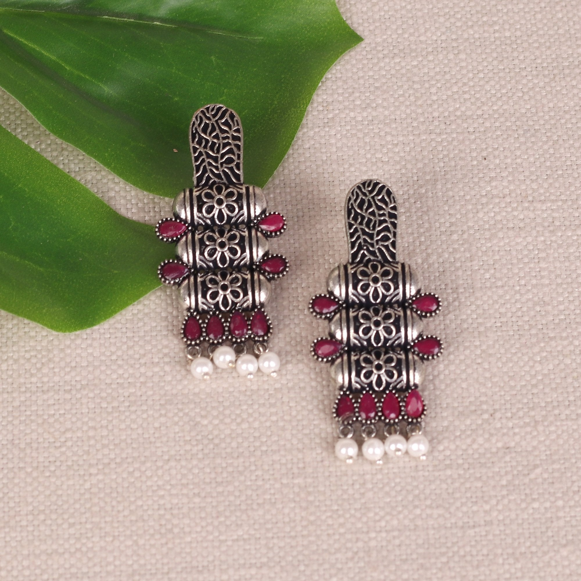 Tribal Art Earings With Stone Work