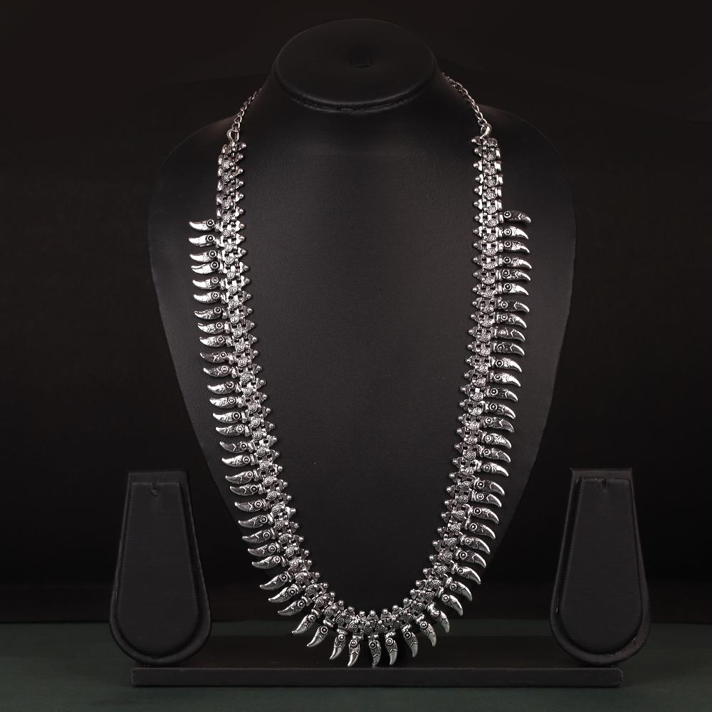 Ethnic Motifs Long Neckpiece In German Silver