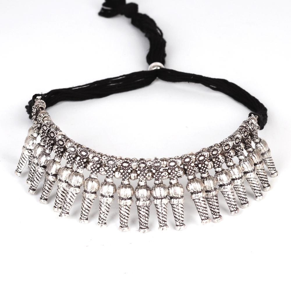 Ethnic Motif Oxidised Boho Necklace
