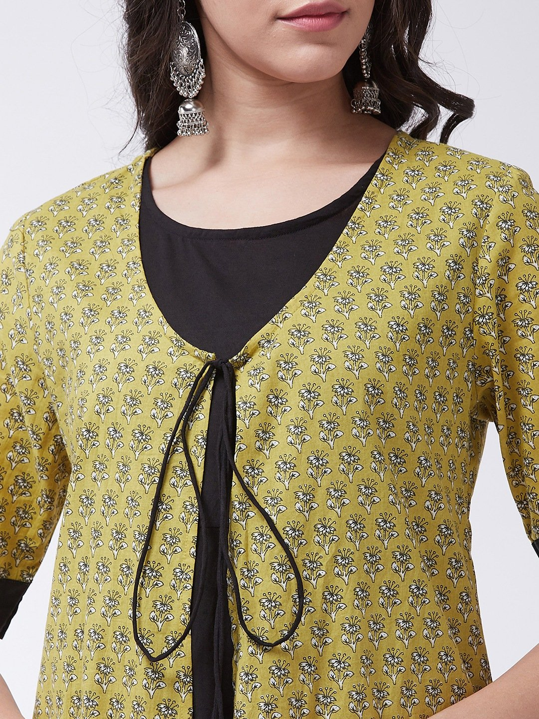 Black Anarkali Dress With Yellow Floral Print Jacket