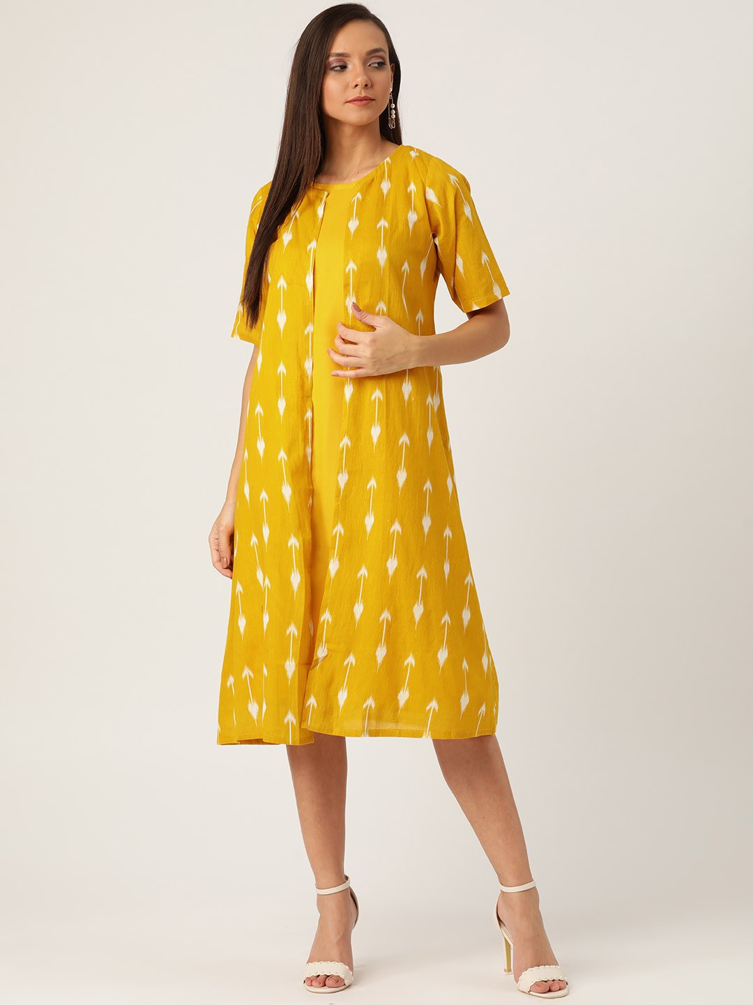 YELLOW ARROW DRESS WITH SHRUG