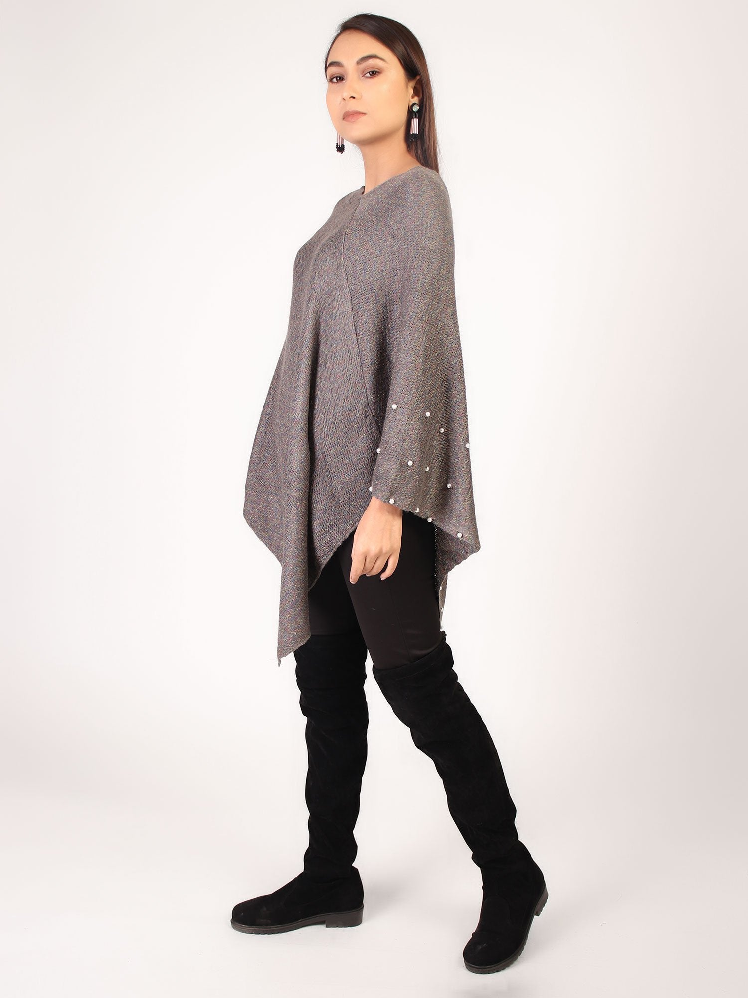 Poncho With Pearl  Grey