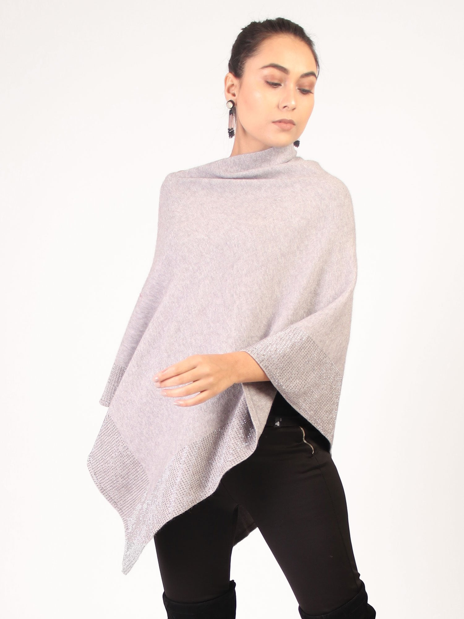 Poncho With Shimmer Grey