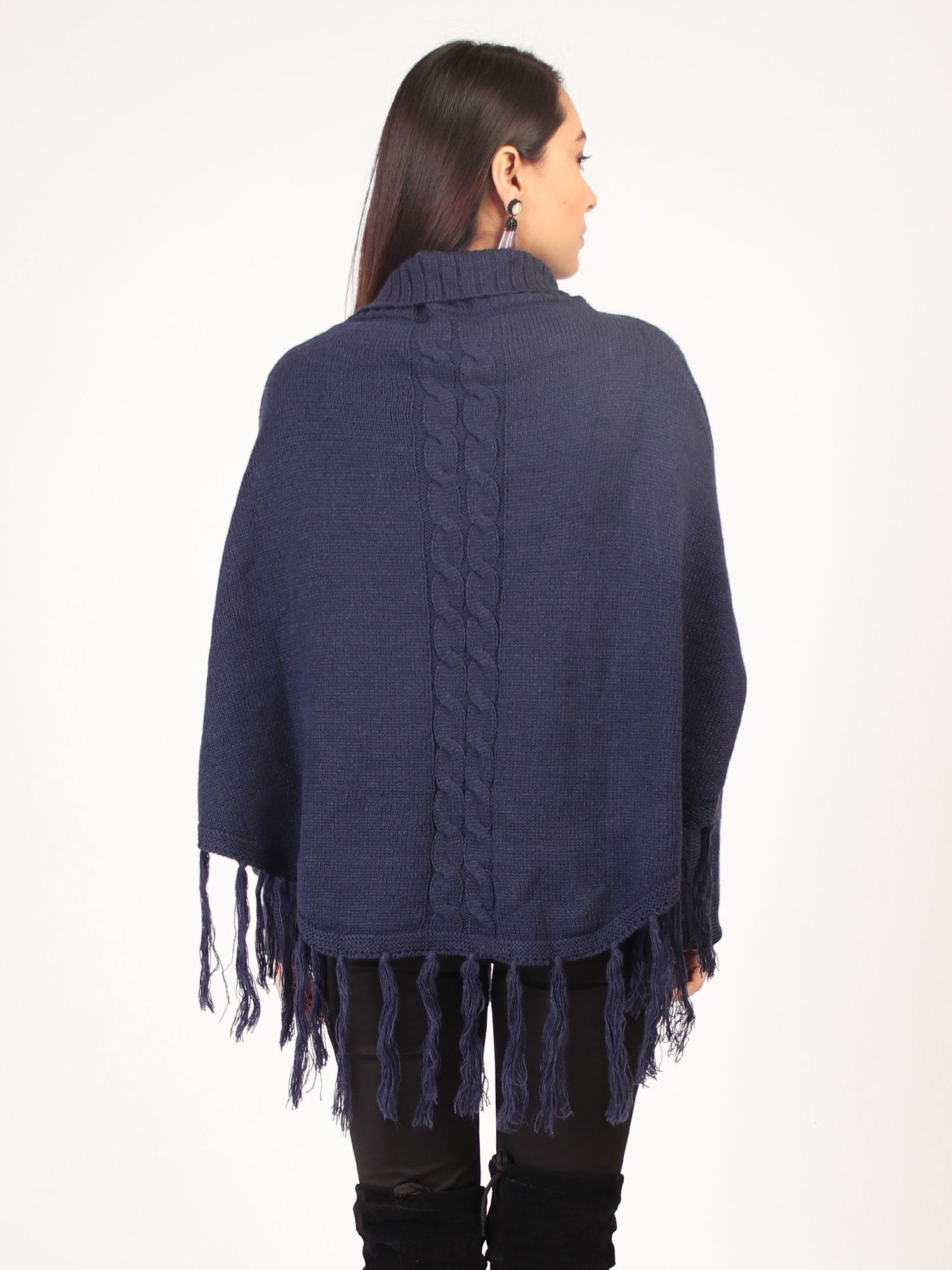 Poncho With Tasssles Navy Blue
