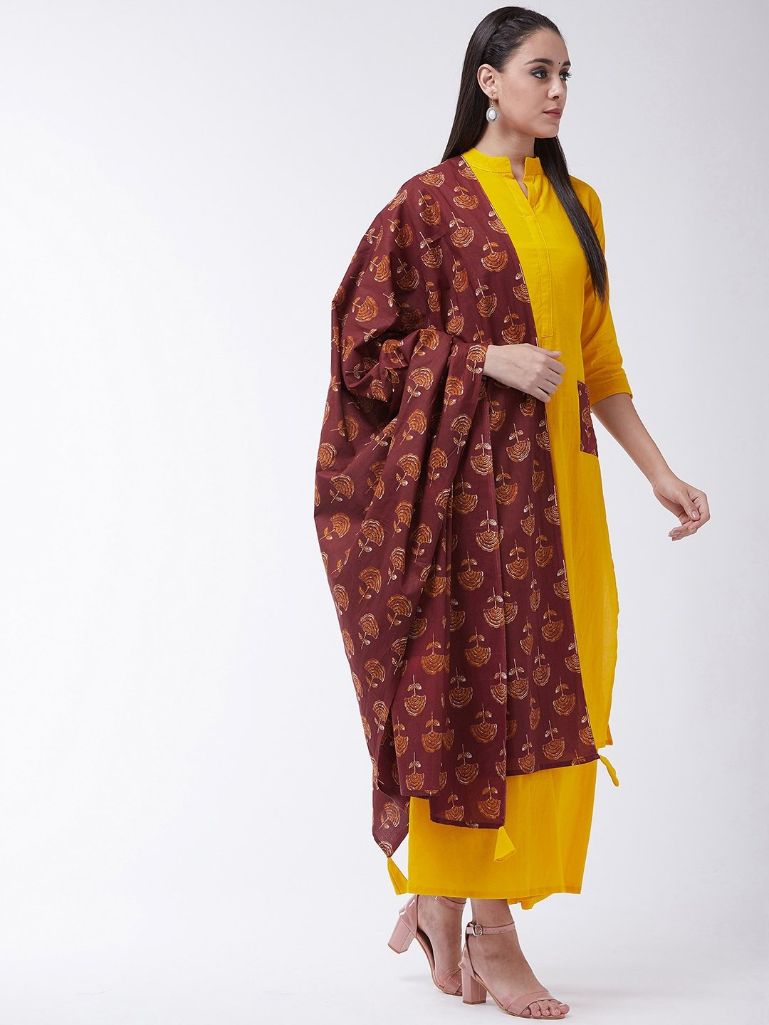 Mustard Maroon Kurta With Patch Pocket Palazo Set