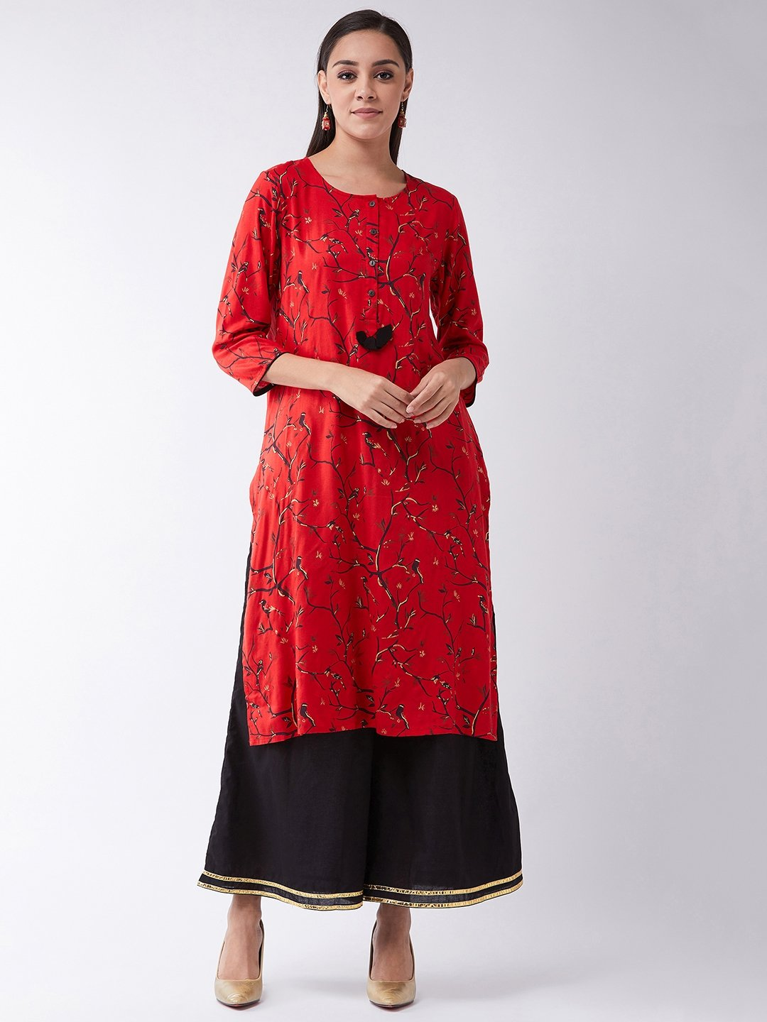 Red Gold Kurta Set