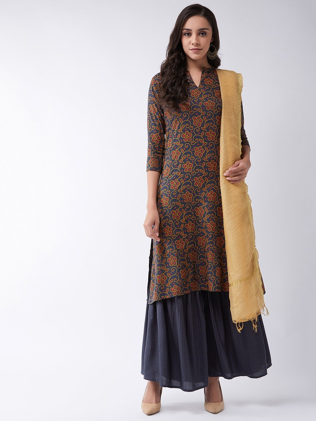 Dark Grey Bandhej Kurta Set