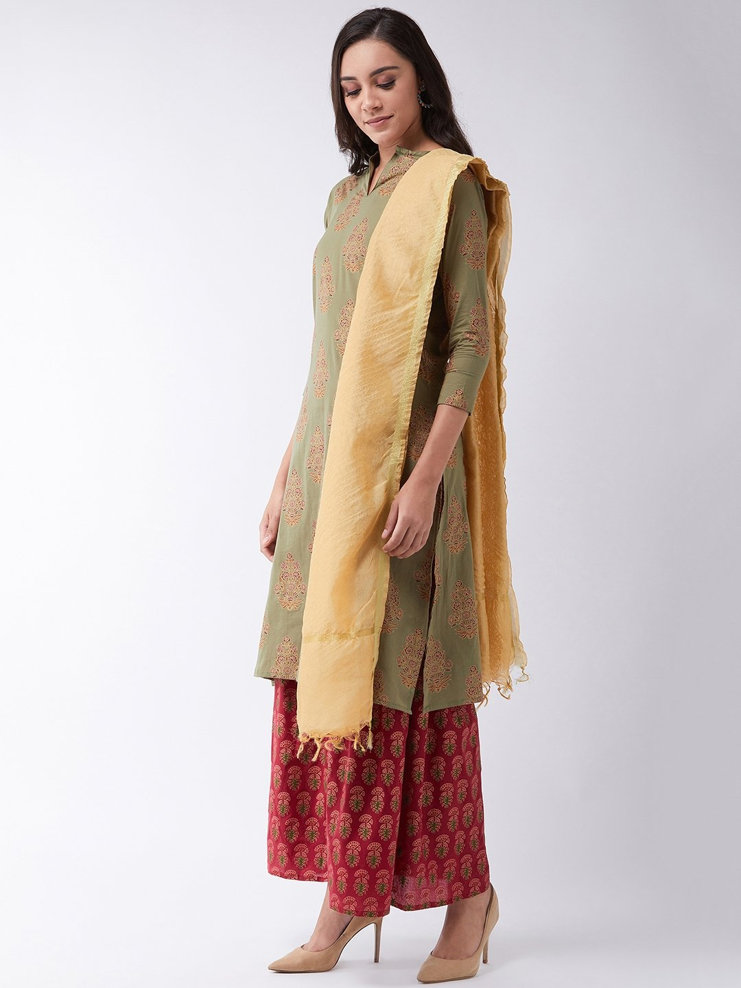 Green Gold Boota Kurta Set