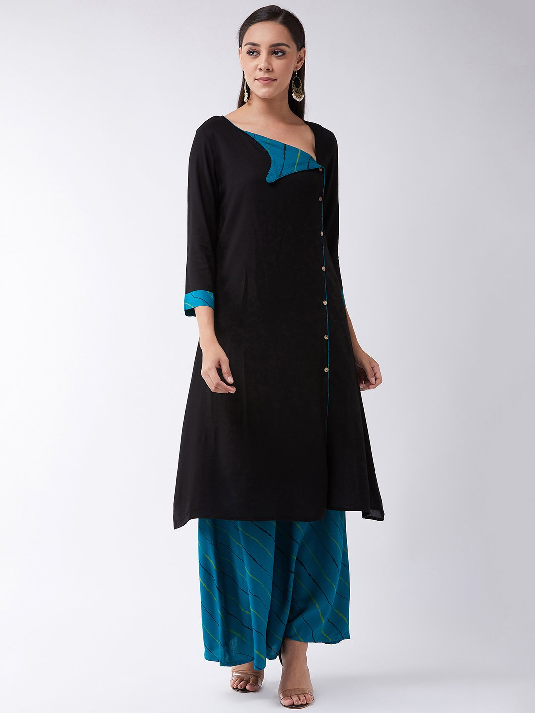 Black Kurta, Green Collar Set
