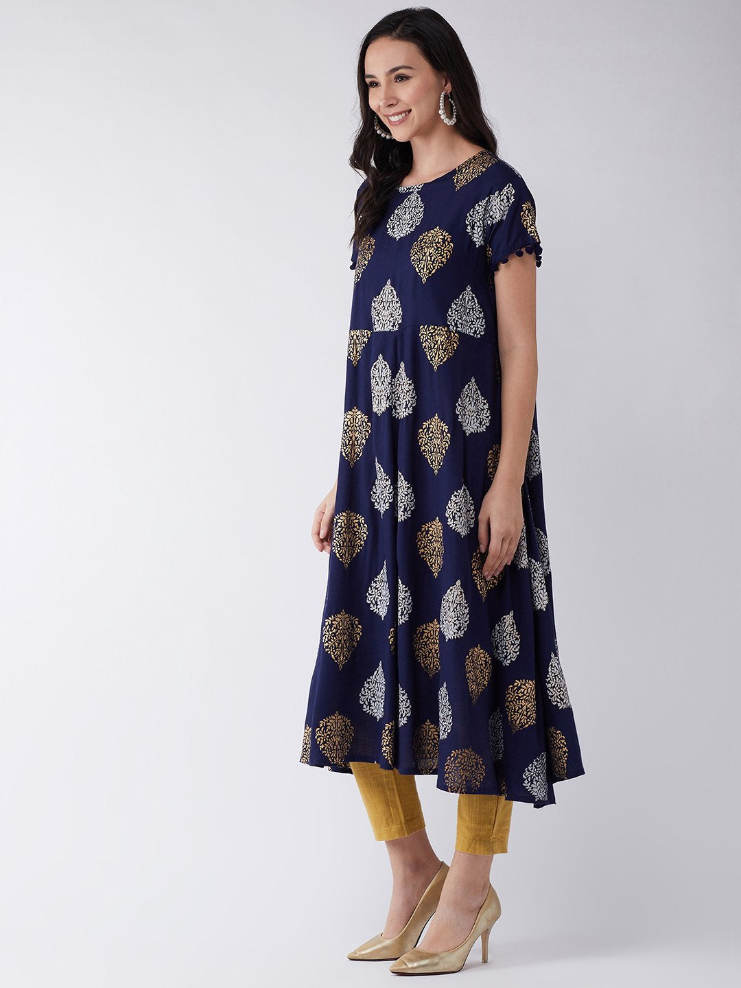 Leaf Gold Silver Print Kurta Set