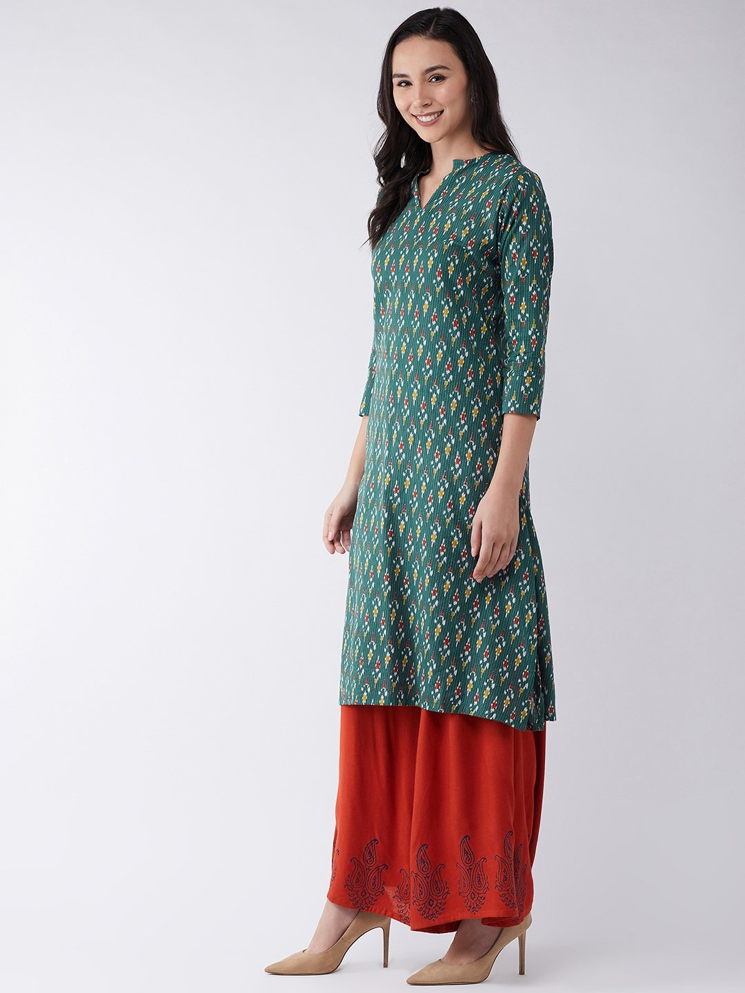 Set in Green Kantha Ikkat