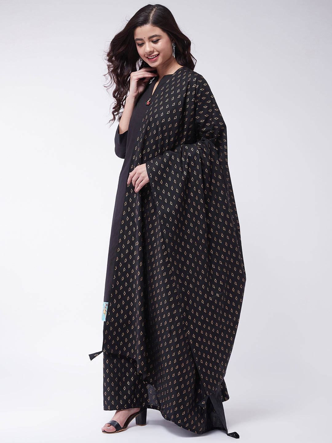 Black Kurta with Gold Leaf Skirt Set