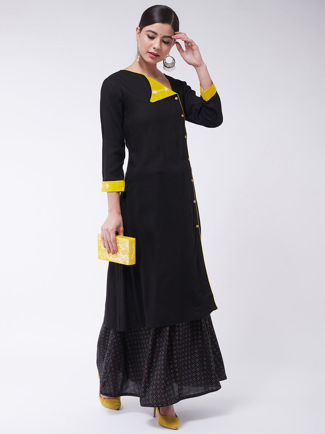 Black Kurta with Black Gold Pin Dot Skirt Set