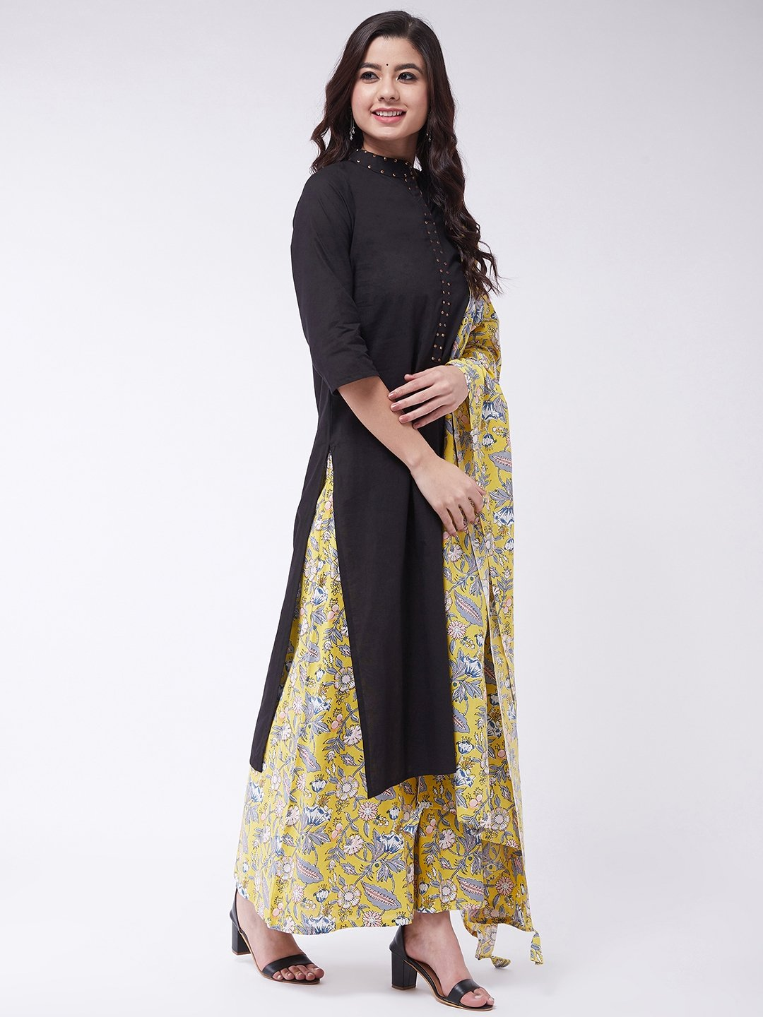 Black Sequins Kurta Set With Dupatta