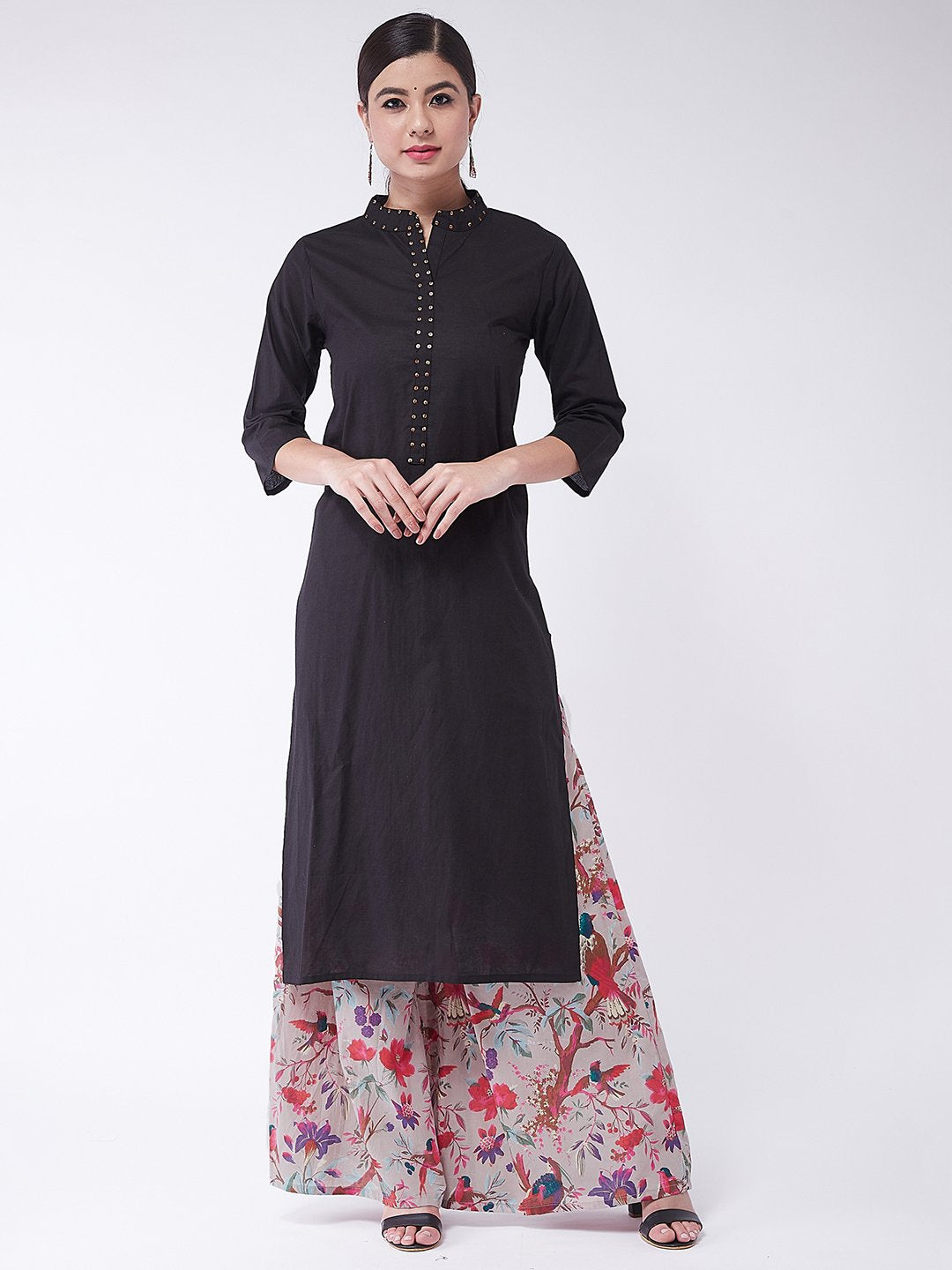 Black Sequins Kurta With Palazzo