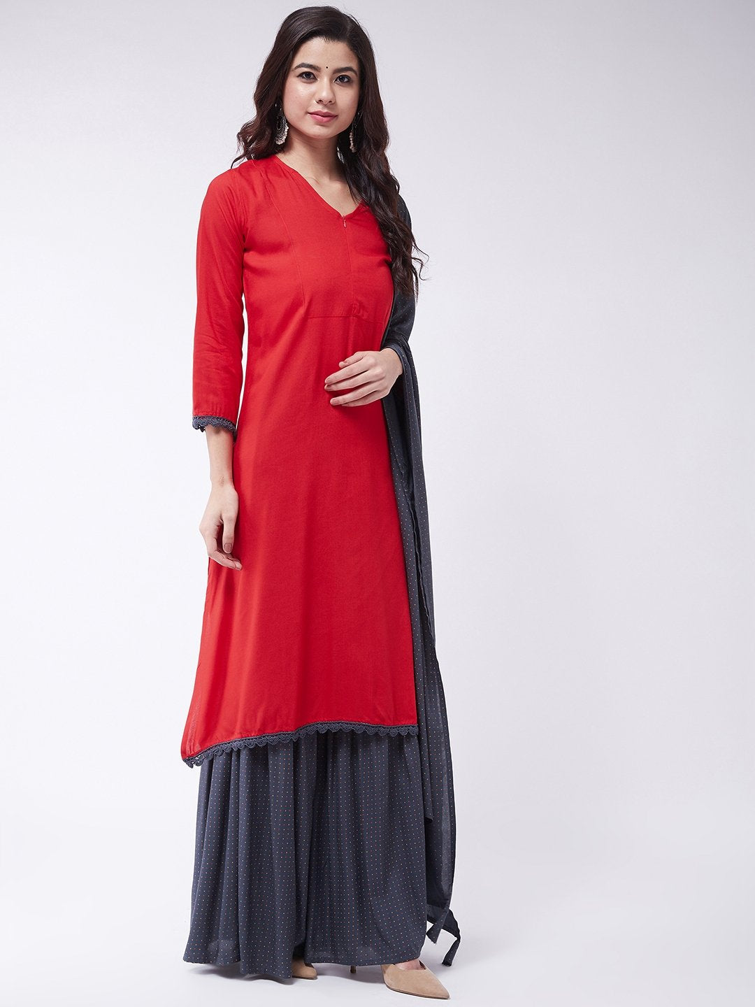 Red Lace Work Kurta Set With Dupatta