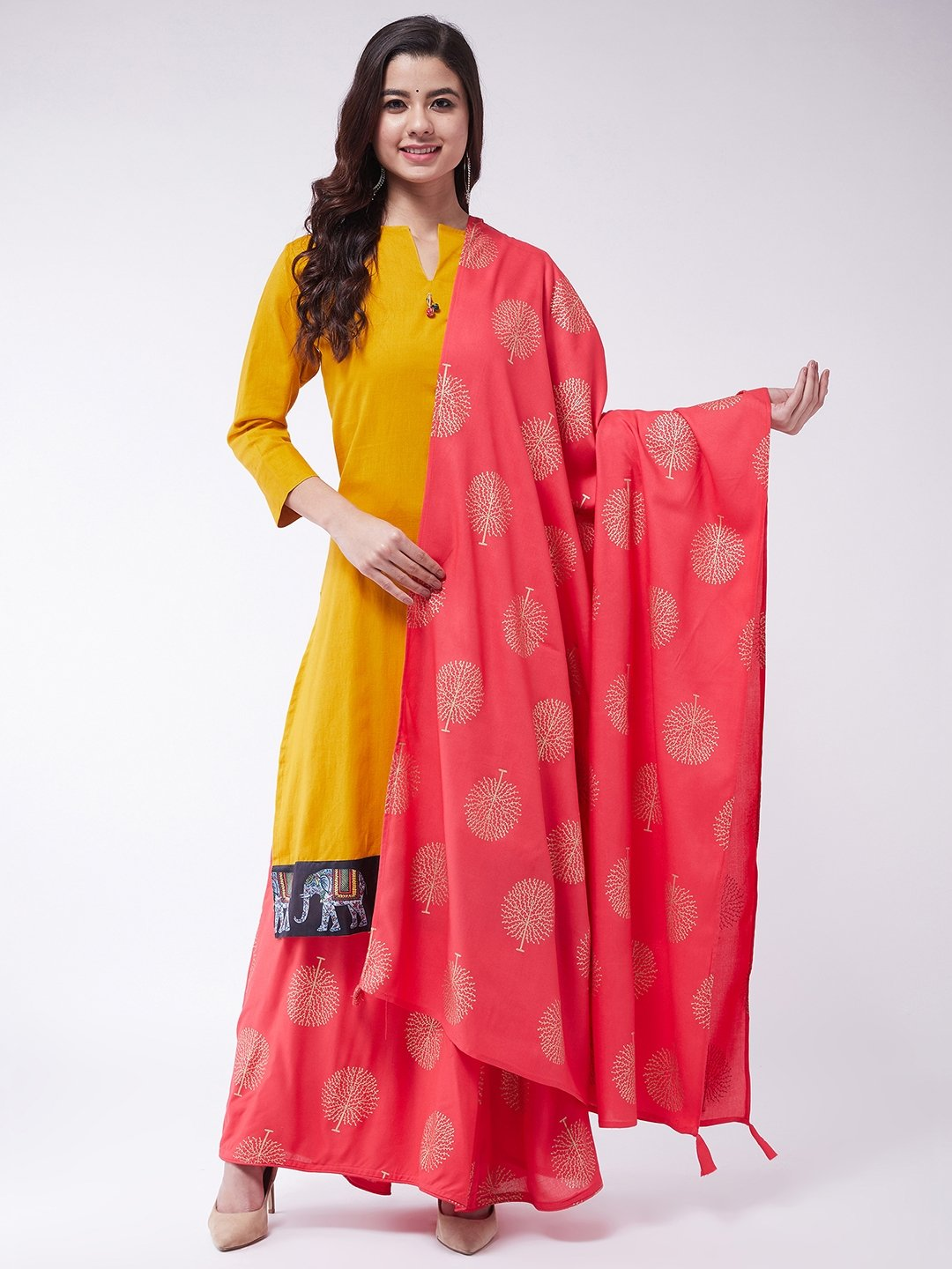 Mustard Skirt Suit Set With Dupatta