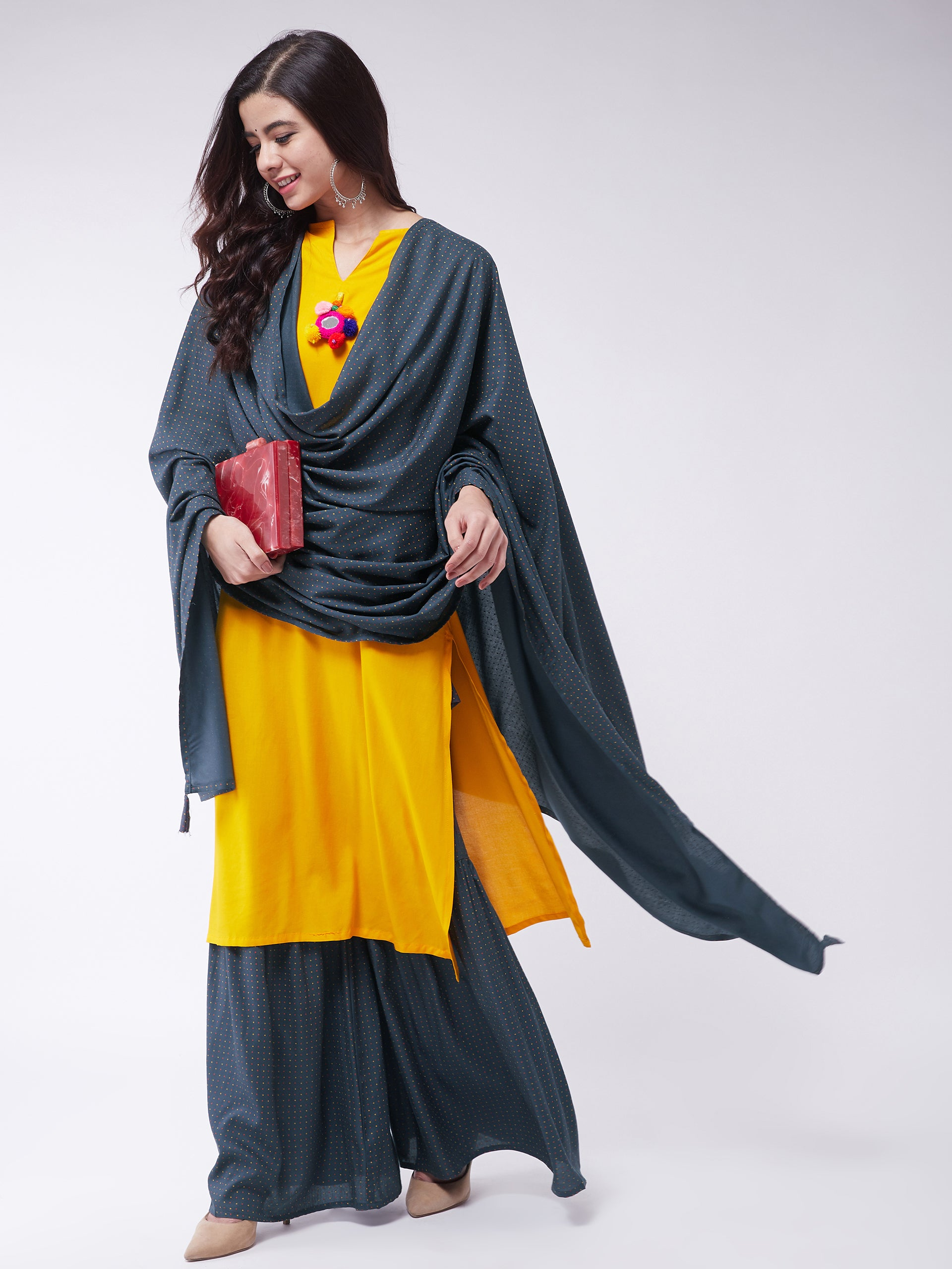 Mustard Kurta Dark Grey Printed Sharara Set