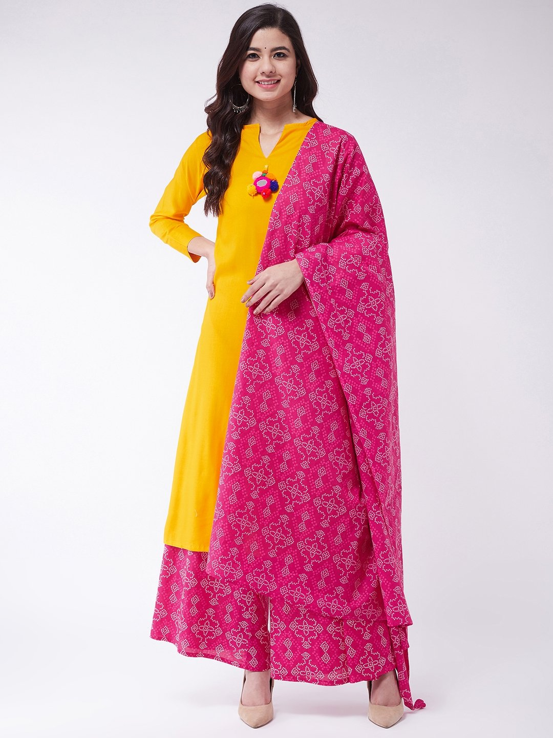 Mustard Mirror Tassel Palazzo Set With Dupatta