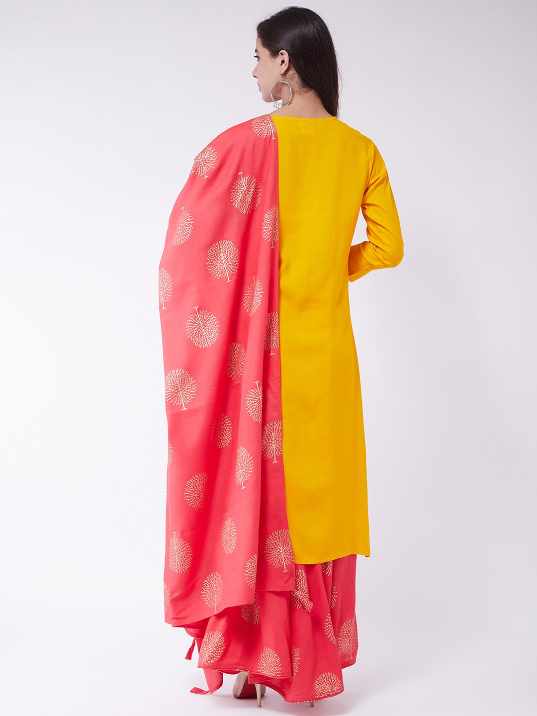 Mustard Kurta Skirt Set With Dupatta