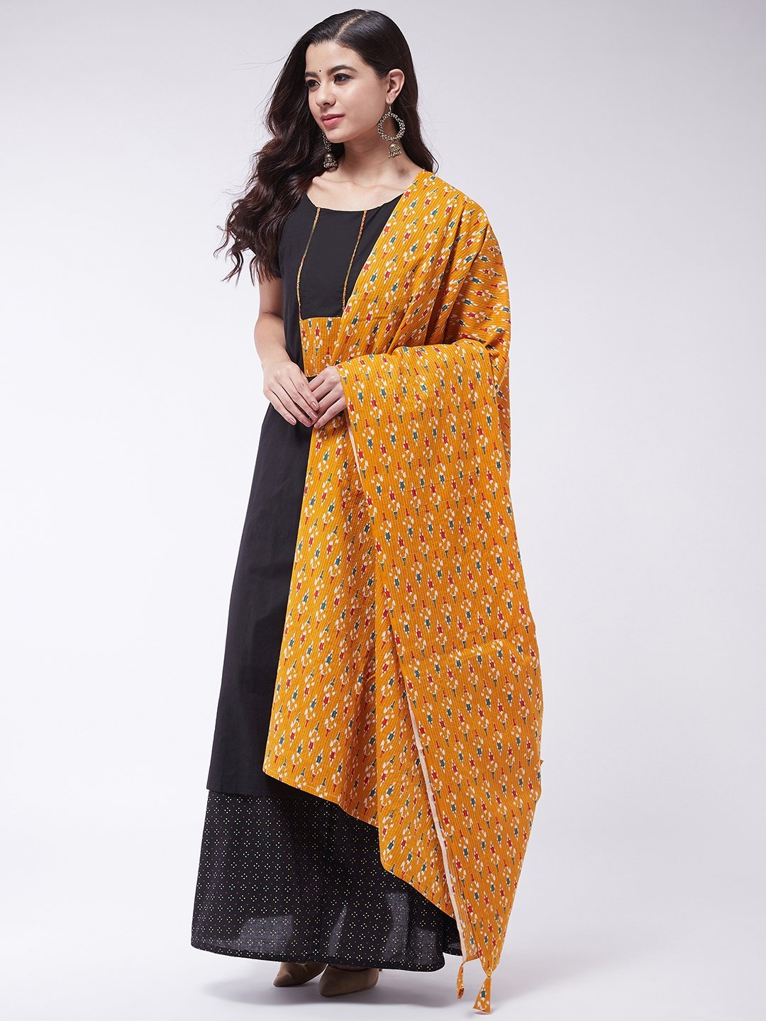 Black Patch Work Kurta Skirt Set With Dupatta