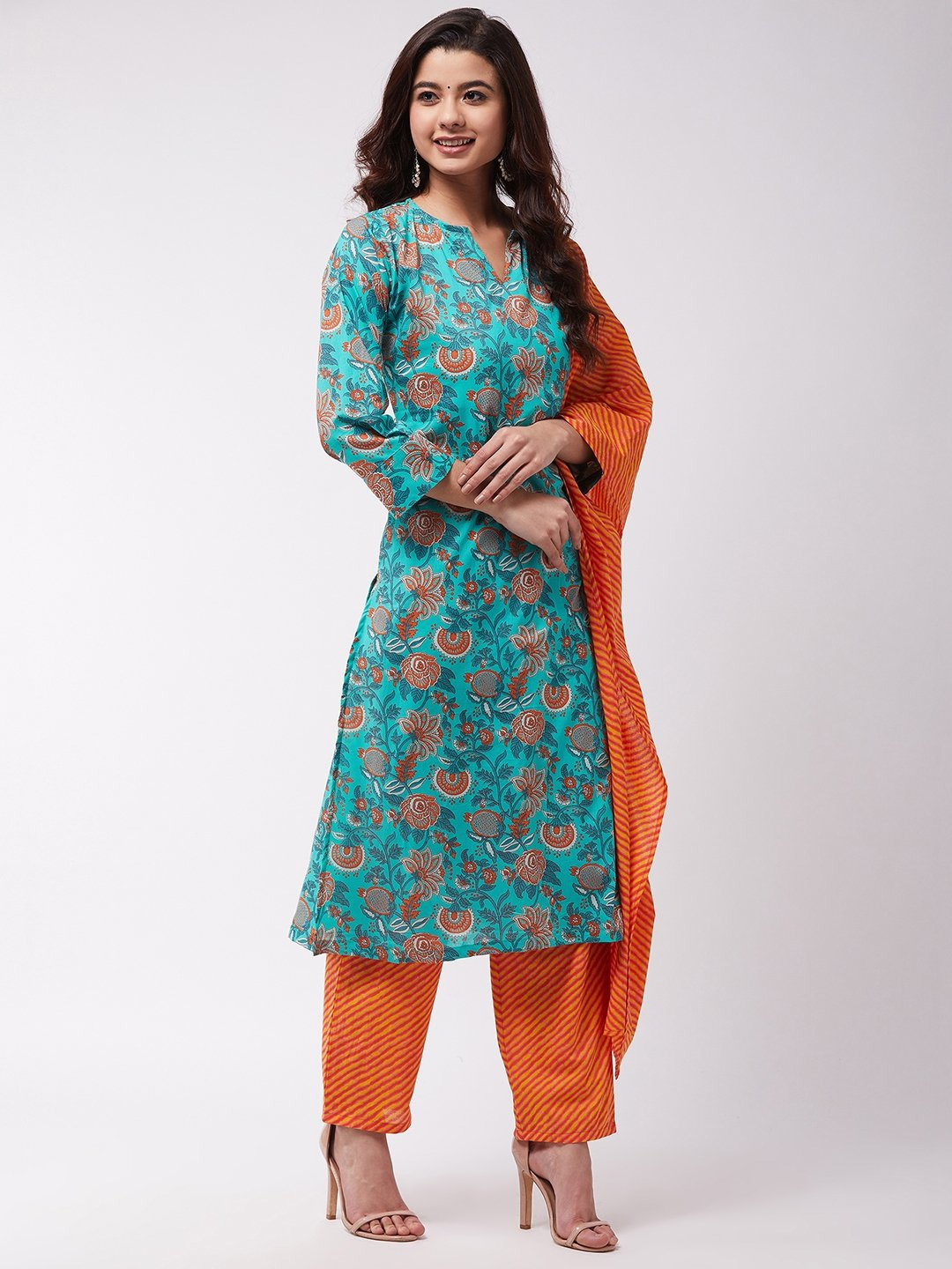 Turquoise Orange Kurta Pant Set