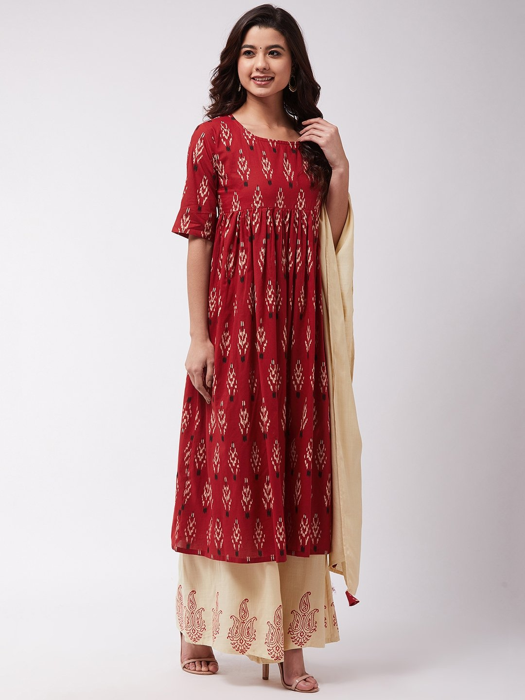 Red Ikkat Print Anarkali Kurta Set