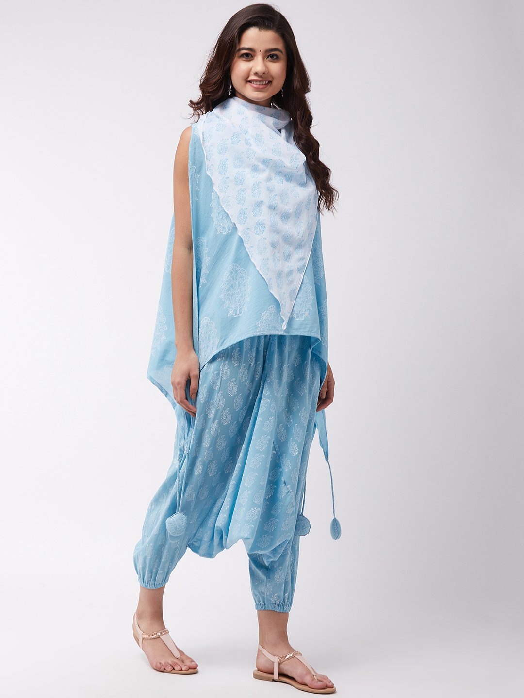 Sky Blue Block Print Tassel Top Harem Set
