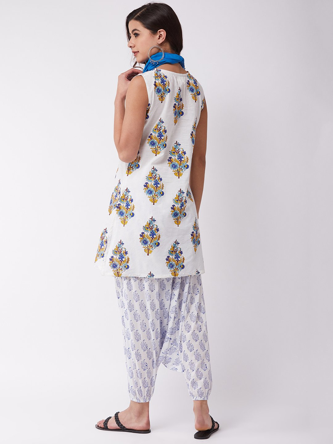 White Block Print Kurta Harem Set