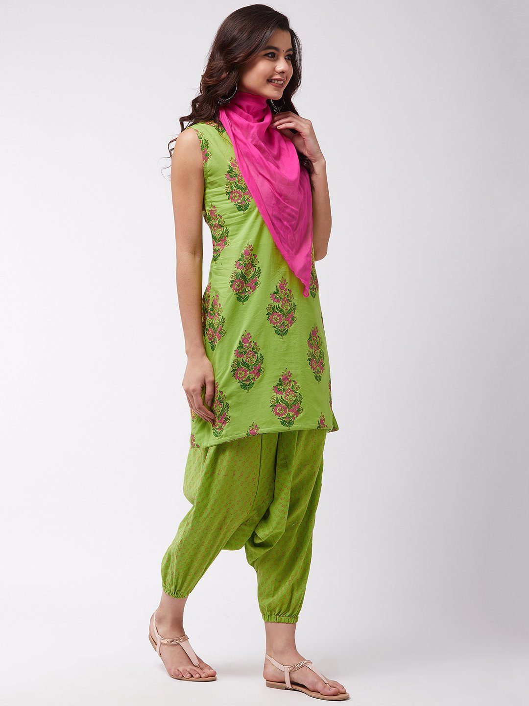 Bright Green Block Print Kurta Harem Set