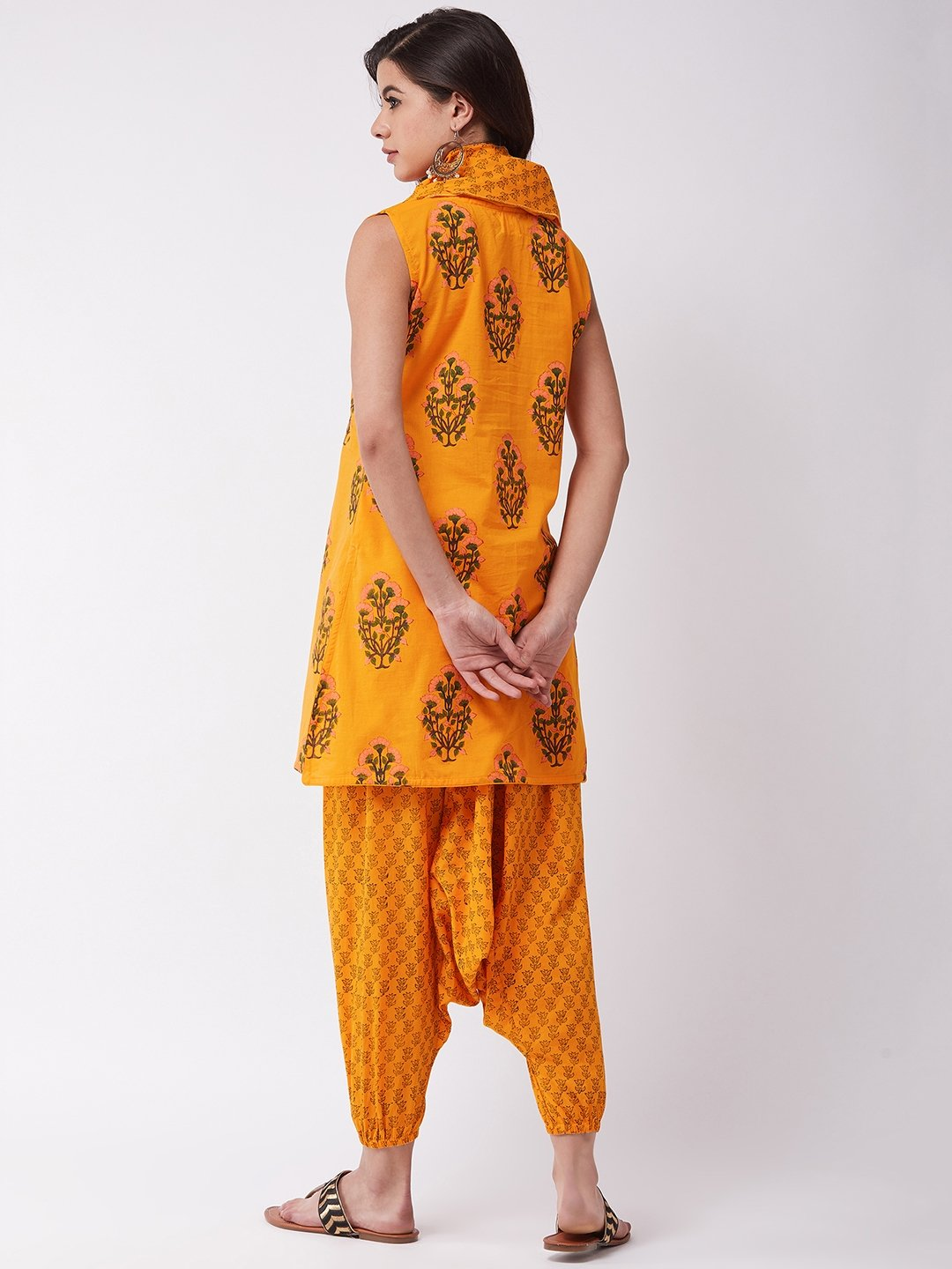 Bright Mustard Block Printed Kurta Harem Set