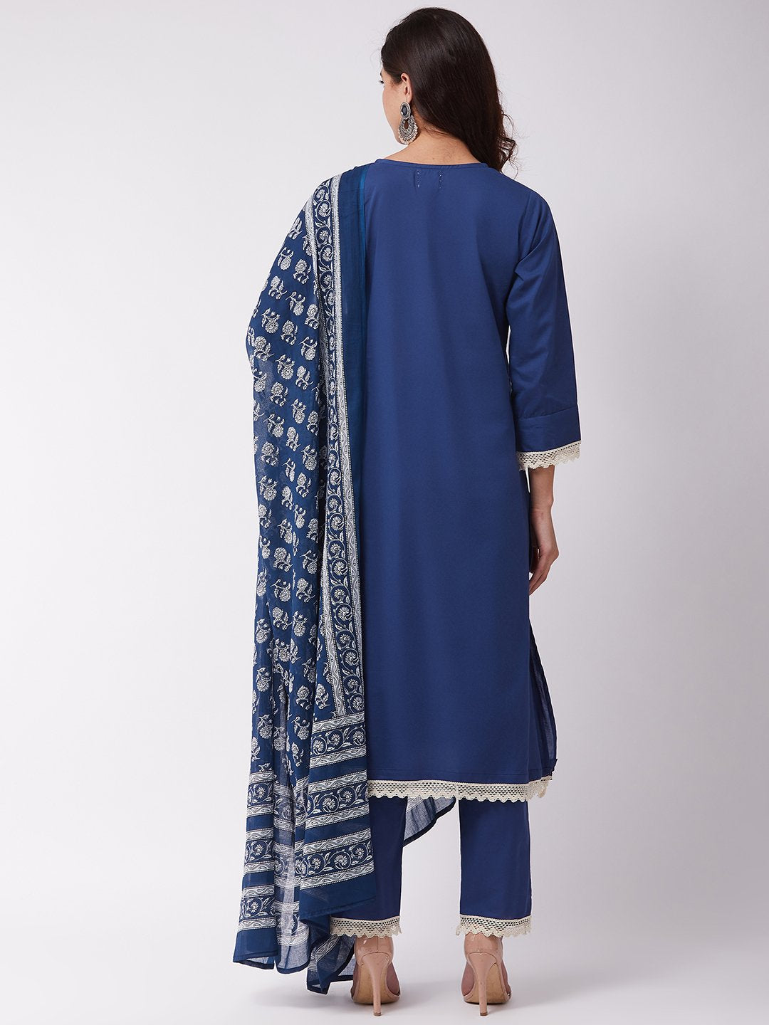Indigo Kurta Pant Set With White Lace