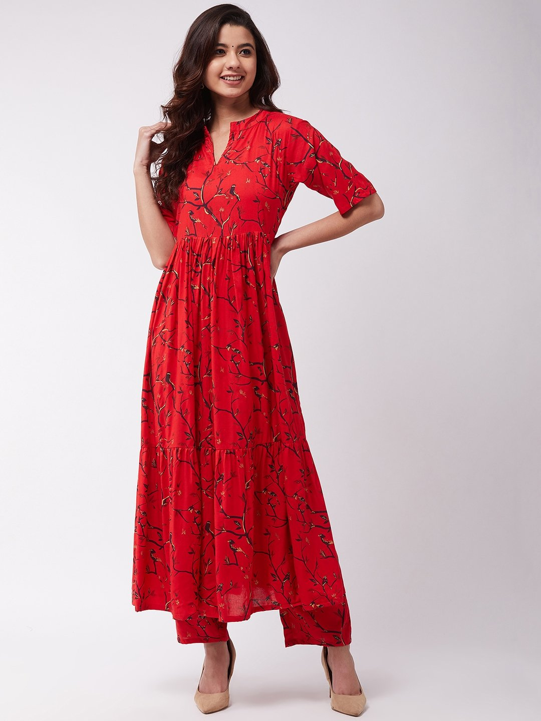Red and Gold Long Kurta Pant Set