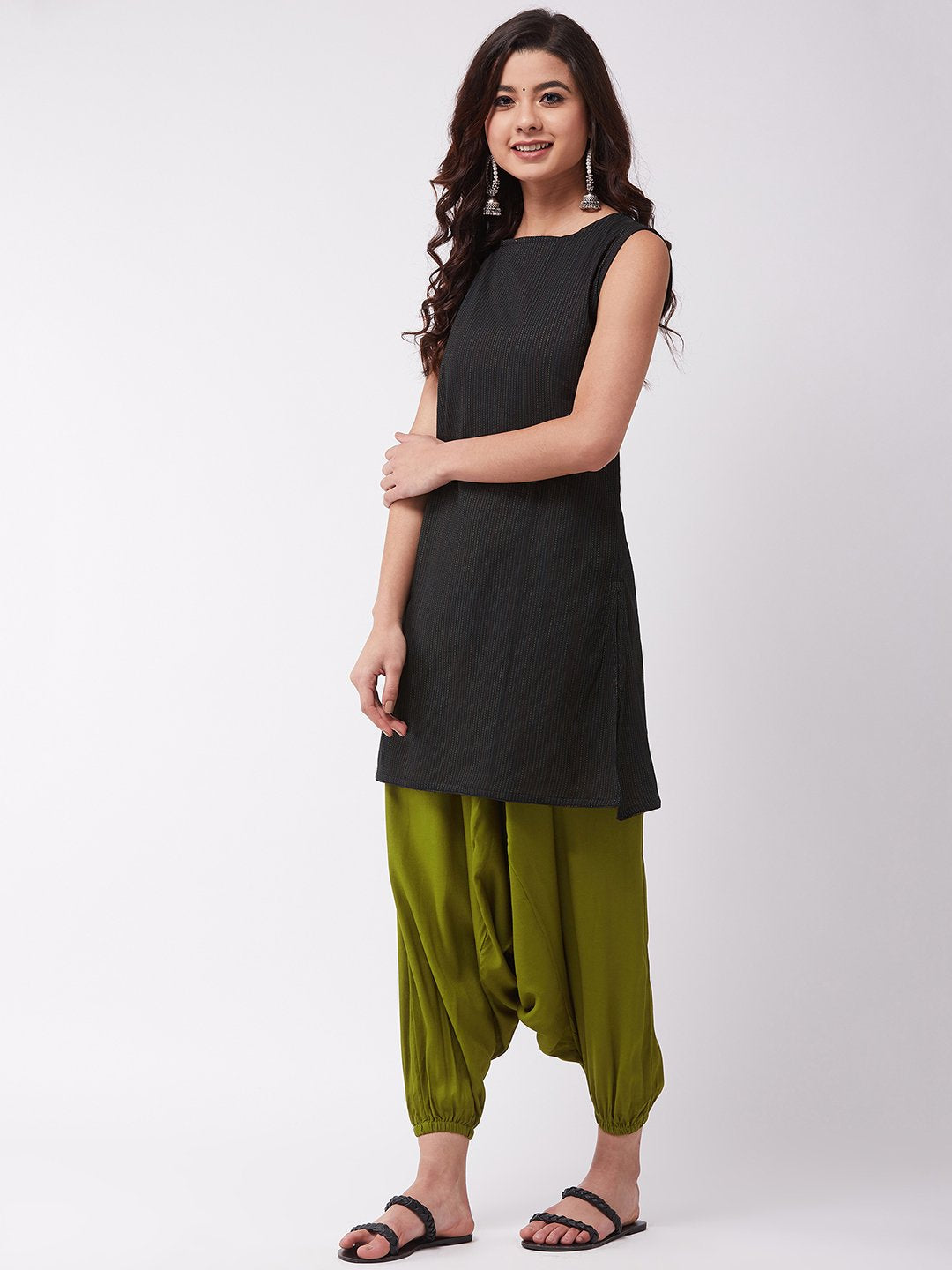 Black Kantha Olive Green Harem Set