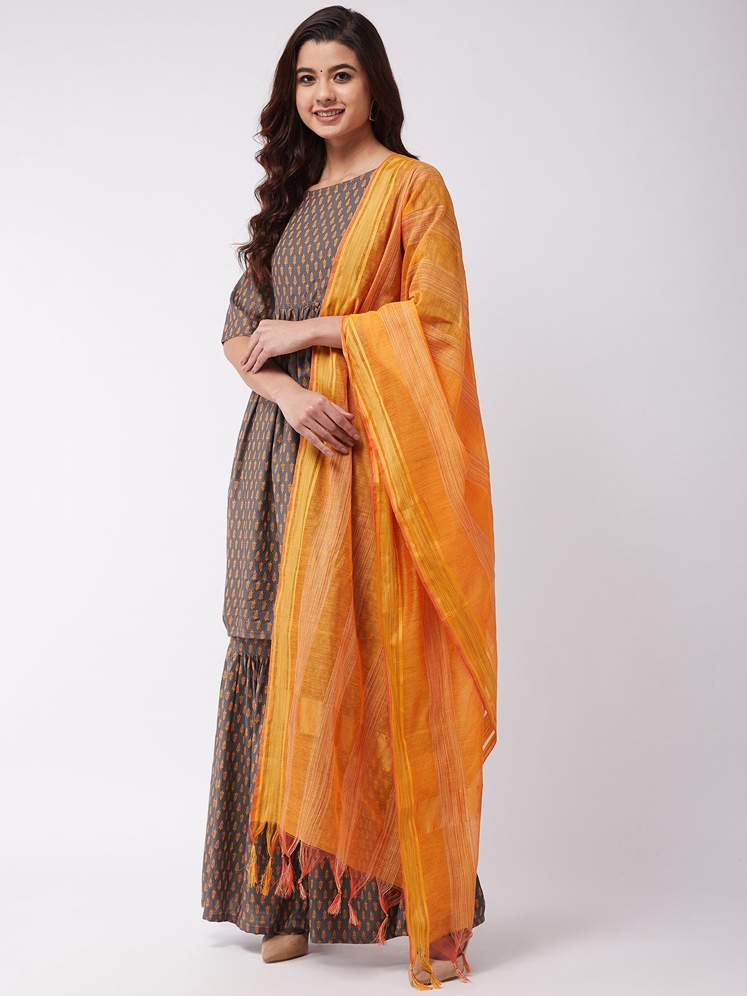 Dark Grey Orange Kurta Sharara Set