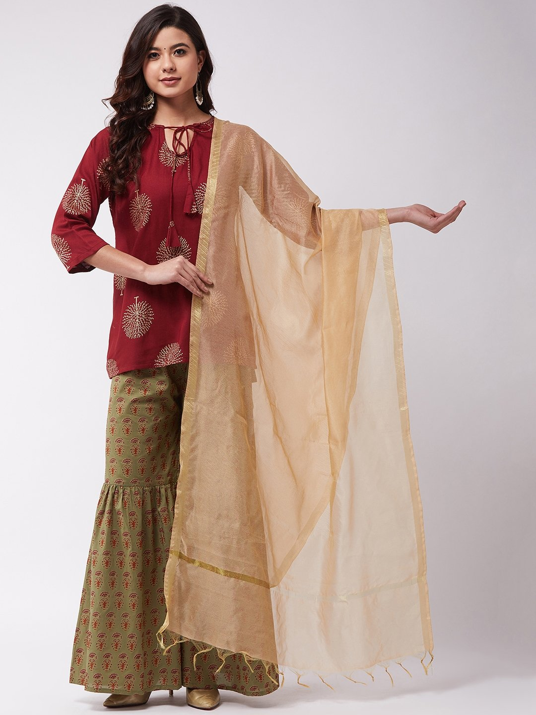 Maroon Gold Green Sharara Set