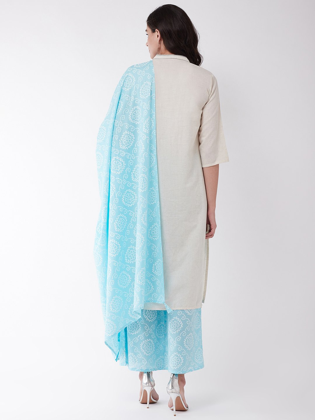 Off White And Light Blue Bandhej Kurta Set