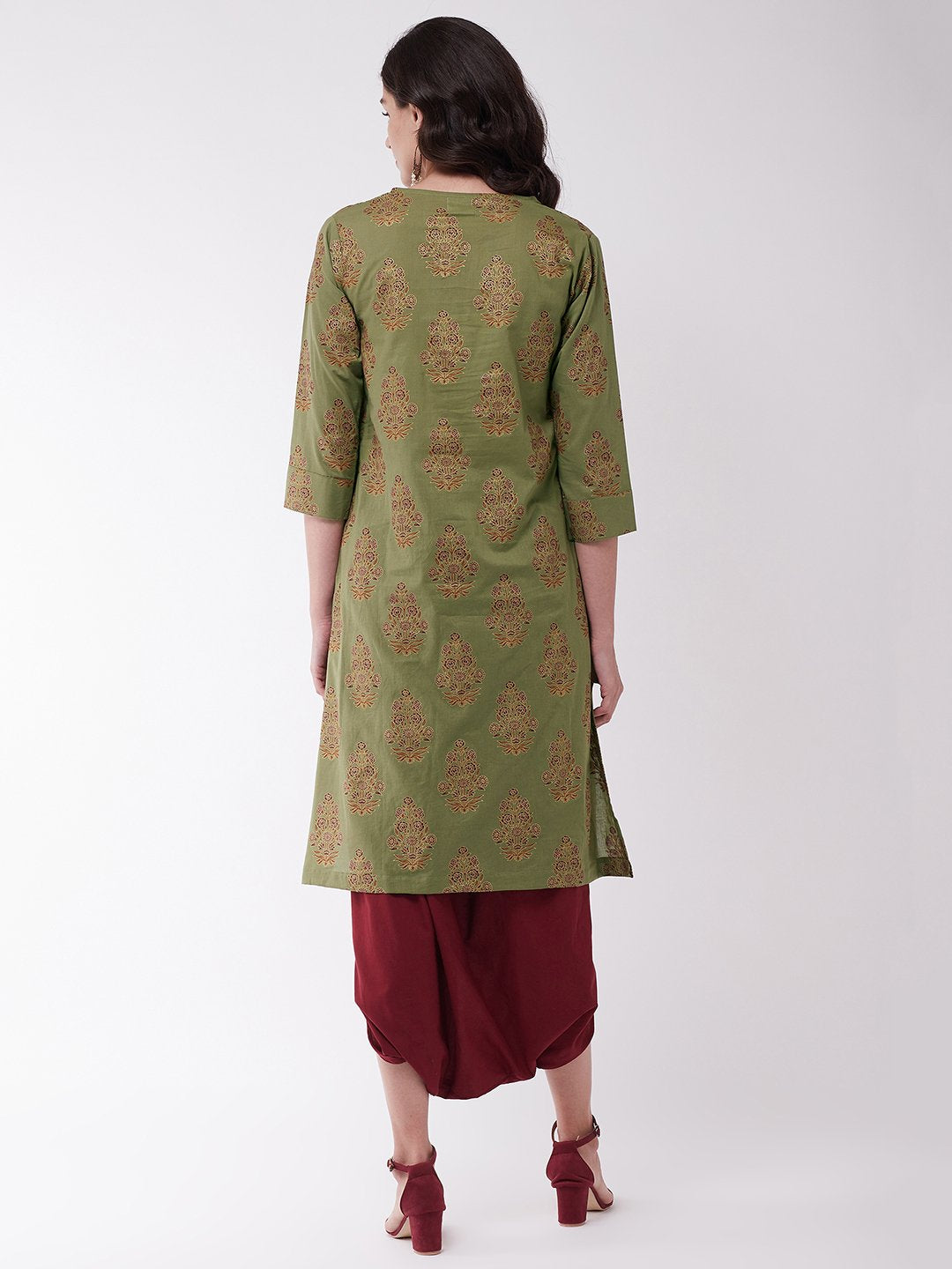 Green Kurta With Cowl Dhoti