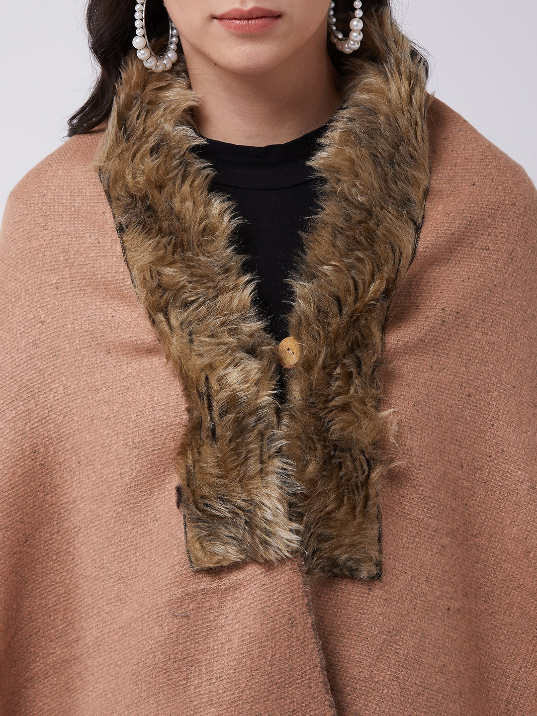 Peach Winter Fur Cape