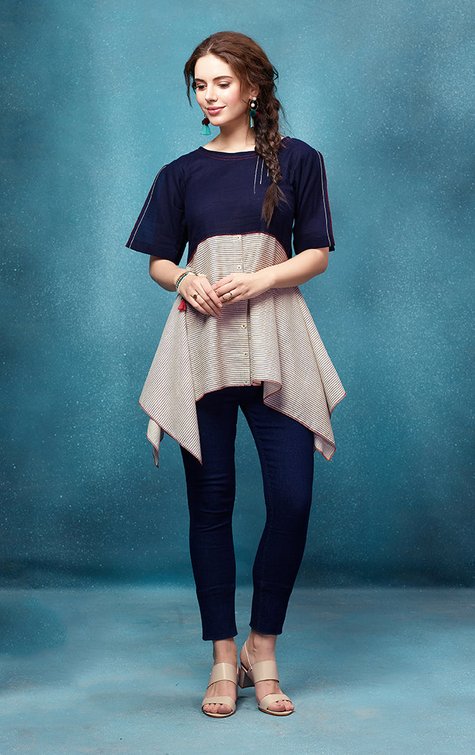 Navy Blue Top with Asymmetric Hem