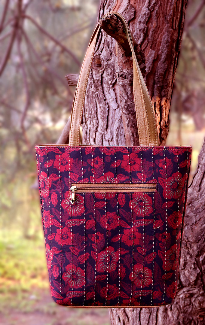 Floral Fun Tote Bag in Red Color