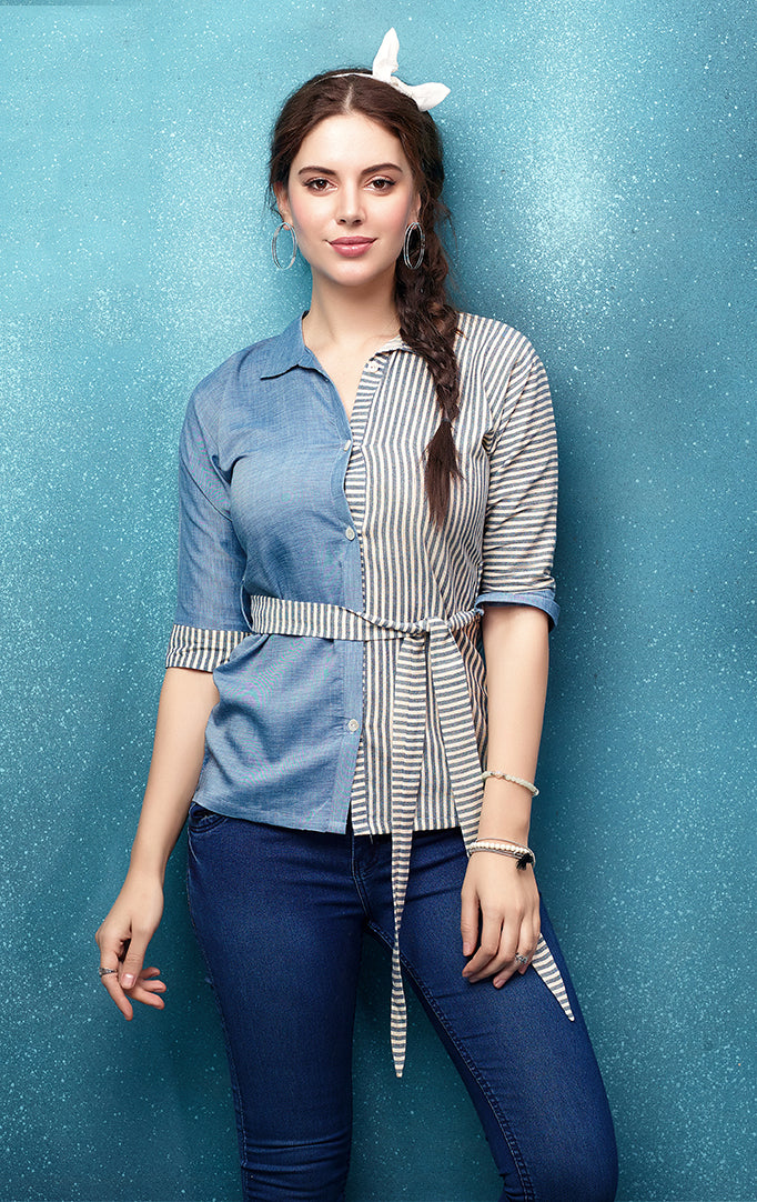 Half-n-half blue striped top