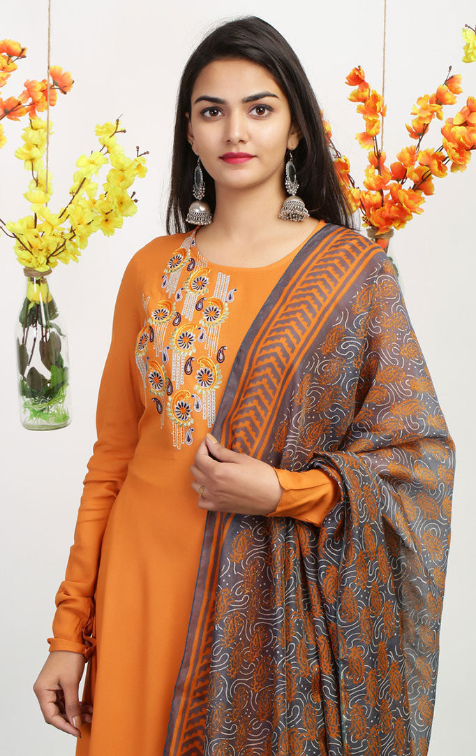 Mustard Anarkali Dress with Printed Dupatta