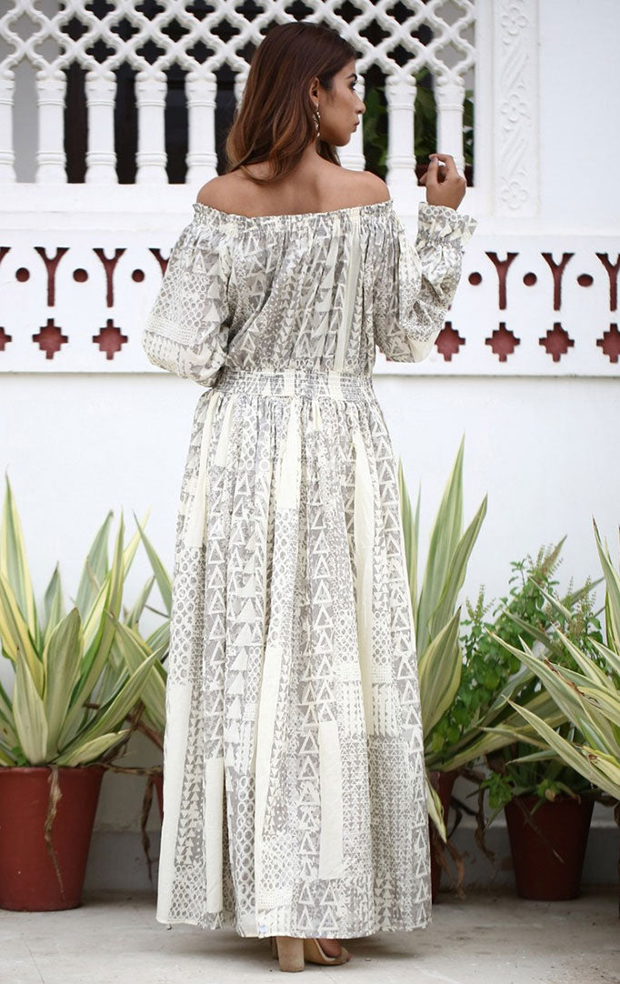 Grey-white Off-Shoulder Maxi Dress