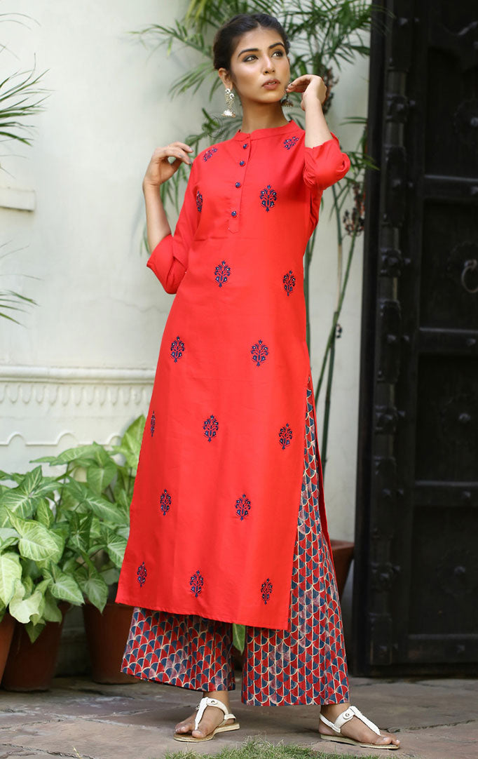 Maxi Style Dress with Red Kurta and Palazzo Set