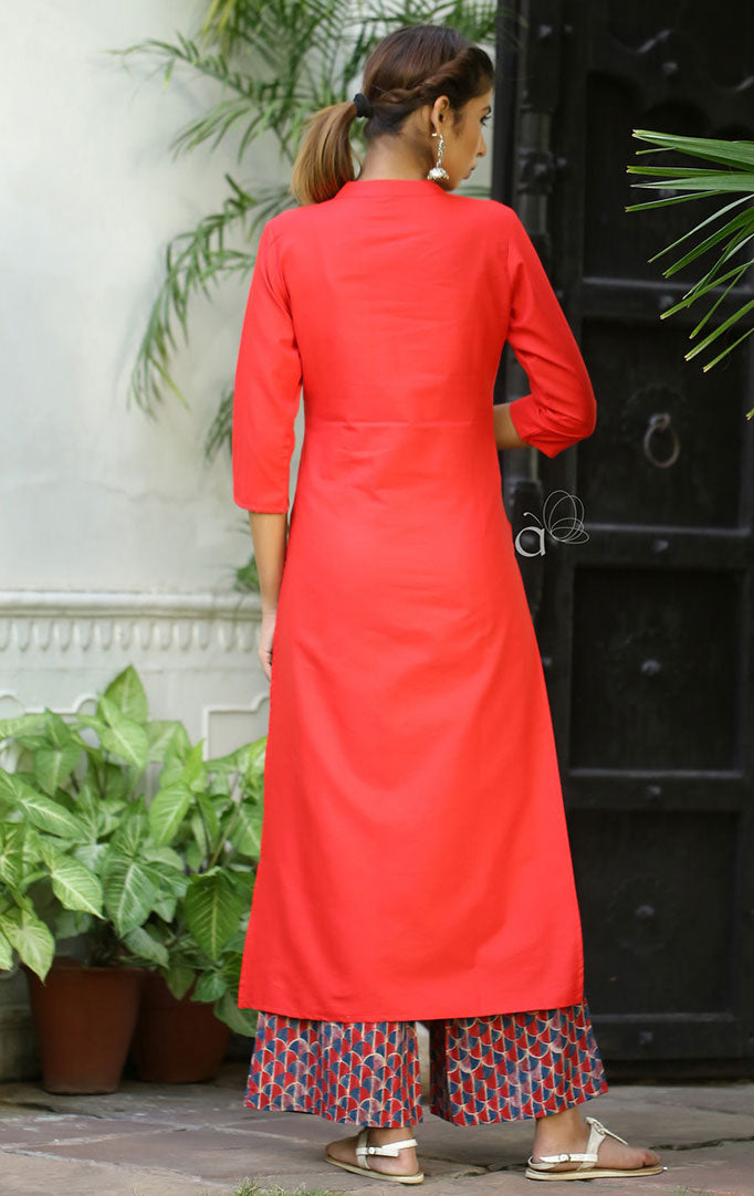 Layered Anarkali Maxi Dress with Red Kurta