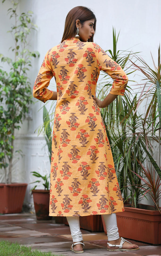 Light Orange Kurta with Mughal Floral Print